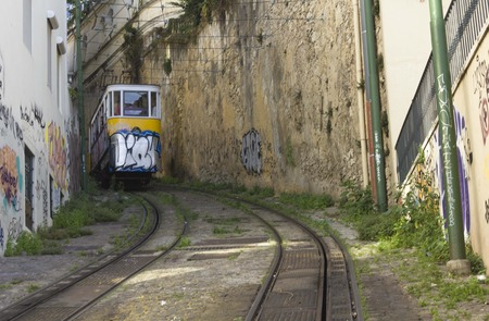 LISBON, PORTUGAL - OCTOBER 25 2014: The arrive of Lavra Funicular in Lisbon, in its narrow street Editorial