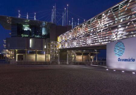 acquarium: LISBON, PORTUGAL - OCTOBER 24 2014: Lisbon acquarium building at night, Lisbon