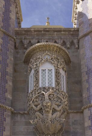 close out: Close up detail of a jutting out window of the Pena National Palace in Sintra, Portugal