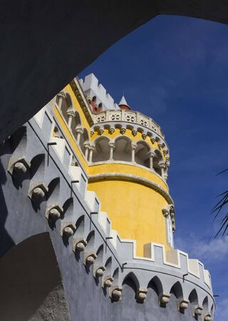 the pena national palace: Tower close up of the Pena National Palace in Sintra, Portugal Editorial