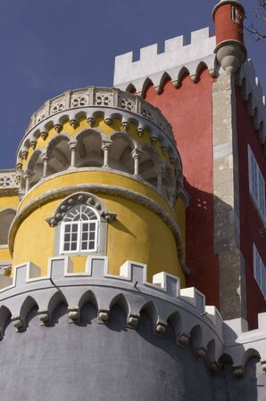 pena: SINTRA, PORTUGAL - OCTOBER 25 2014: Close up of Pena Castle in Sintra, Portugal, with its vivid colours of Moorish style