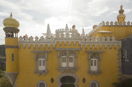 pena: Backlit frontal view of Pena national Palace in Sintra, Portugal