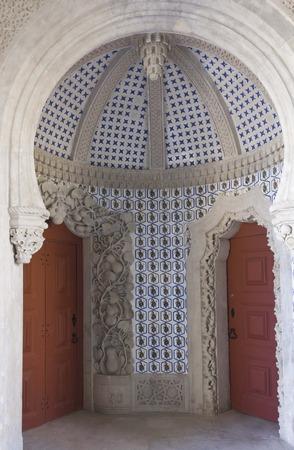 SINTRA, PORTUGAL - OCTOBER 25 2014: Cupola dome inside the Palacio de Pena in Sintra, Portugal, with traditional azulejos tiles Editorial
