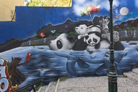 lavra: LISBON, PORTUGAL - OCTOBER 25 2014: Panda Graffiti in Lisbon, in Calcada do Lavra Street