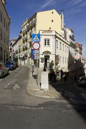 bairro: LISBON, PORTUGAL - OCTOBER 25 2014: traditional slope street in Bairro Alto quartier in Lisbon, Portugal.
