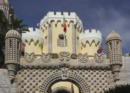 the pena national palace: SINTRA, PORTUGAL - OCTOBER 25 2014: Entrance gate of Pena National Palace in Sintra, Portugal