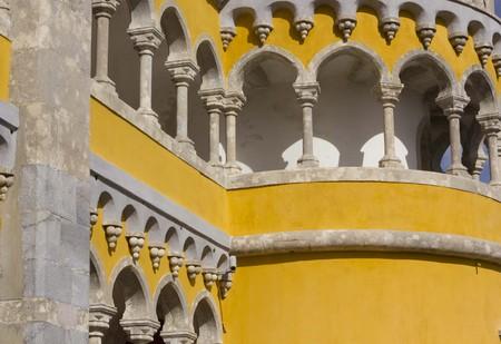 pena: SINTRA, PORTUGAL - OCTOBER 25 2014: Tower close up of Pena Nacional Palace in Sintra