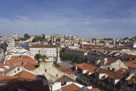 justa: Lisbon Rossio Square overview from Santa Justa elevator