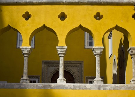 the pena national palace: Architectural close up of arch columns in the court of Pena National Palace in Sintra, Portugal