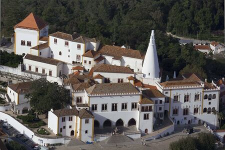 sintra: SINTRA, PORTUGAL - OCTOBER 25 2014: View from the top of the hill of Sintra National Palace in Portugal