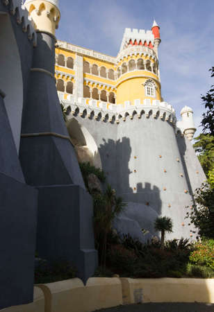 the pena national palace: SINTRA, PORTUGAL - OCTOBER 25 2014: View from the bottom of Pena National Palace in Sintra, beautiful fortress in Moorish Style