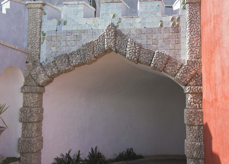 the pena national palace: Access gate to Pena National Palace in Sintra, Portugal, with traditional portuguese azulejos tile and stone carved arch