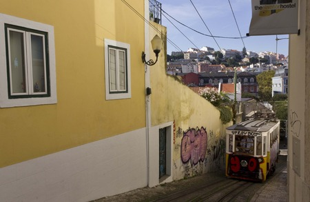 lavra: LISBON, PORTUGAL - OCTOBER 26 2014: Lavra Funicular going up in the narrow street, with Lisbon cityscape in the background Editorial