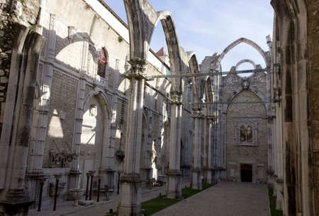 roofless: LISBON, PORTUGAL - OCTOBER 24 2014: Inside Carmo Convent in Lisbon, roofless convent damaged by the Lisbon earthquake