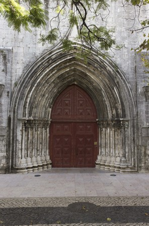 convento: LISBON, PORTUGAL - OCTOBER 24 2014: External door of Convento do Carmo church in Lisbon, closed