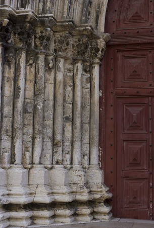 convento: LISBON, PORTUGAL - OCTOBER 24 2014: Close up detail of the entrance doorway of Convento do Carmo in Lisbon, Portugal