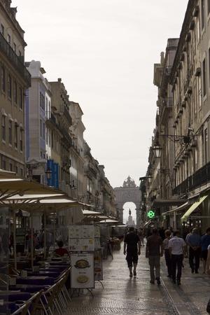 augusta: LISBON, PORTUGAL - OCTOBER 24 2014: Rua Augusta street in Lisbon, with people walking