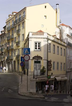 bairro: LISBON, PORTUGAL - OCTOBER 24 2014: traditional slope street in Bairro Alto quartier in Lisbon, Portugal.