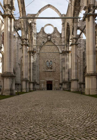roofless: LISBON, PORTUGAL - OCTOBER 24 2014: Interiors of the roofless Carmo Convent in Lisbon, ruined by the earthquake