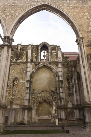 roofless: LISBON, PORTUGAL - OCTOBER 24 2014: Archs in Carmo convent in Lisbon, roofless due to the earthquake Editorial