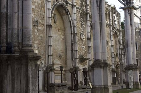 chiado: LISBON, PORTUGAL - OCTOBER 24 2014: Inside the ruins of Carmo Convent in Lisbon, lateral corridor damaged by the earthquake Editorial