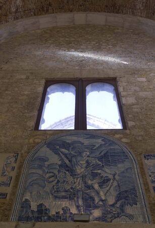 carmo: LISBON, PORTUGAL - OCTOBER 24 2014: Blue Azulejos tile decoration inside Carmo Convent in Lisbon, Portugal Editorial