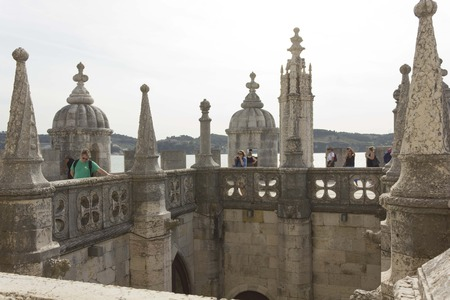 cloister: LISBON, PORTUGAL - OCTOBER 24 2014: Inner Cloister of Belem Tower in Lisbon, with people around Editorial