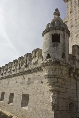turrets: LISBON, PORTUGAL - OCTOBER 24 2014: Close up detail of the Bastion terrace of Belem Tower, with its Moorish bartizan turrets and cupolas Editorial