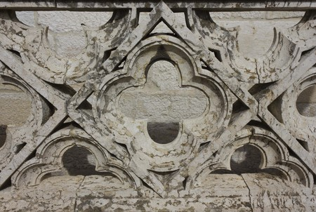 LISBON, PORTUGAL - OCTOBER 24 2014: Architectural close up of the ornamental stone balustrade of Belem Tower in Lisbon, in typical Manueline Style