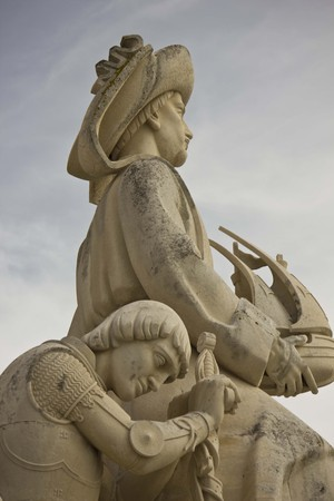 conqueror: LISBON, PORTUGAL - OCTOBER 24 2014: Close up detail of the Monument of the Discoveries in Lisbon, Portugal