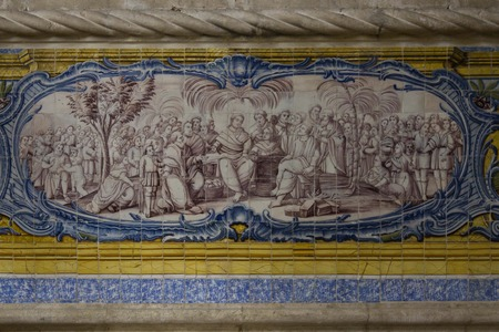 depict: LISBON, PORTUGAL - OCTOBER 24 2014: Close up of the azulejos depict in the interiors of Jeronimos Monastery in Lisbon Editorial