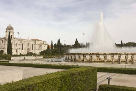 monumental: LISBON, PORTUGAL - OCTOBER 24 2014: External garden of Jeronimos Monastery in Lisbon, with its monumental fountain
