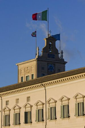 architectural architectonic: ROME, ITALY - DECEMBER 30 2014: Architectural close up of Quirinal Palace in Rome, with its turret