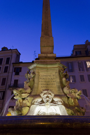 obelisk stone: ROME, ITALY - DECEMBER 30 2014: Architectural close up of the Fountain of the Pantheon in Rome at night
