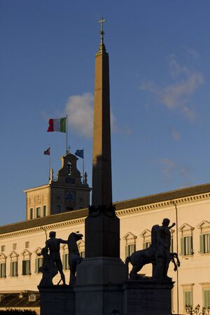 chamber: ROME, ITALY - DECEMBER 30 2014: Obelisk of Montecitorio in Rome, with the Italian Chamber of Deputies building in the background Editorial