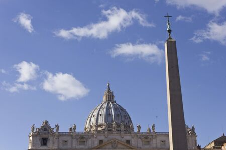 saint peter: ROME, ITALY - DECEMBER 31 2014: Architectural close up of Saint Peter Dome and obelisk in Rome, facing the sky