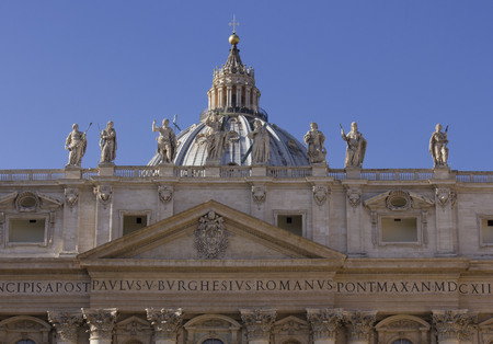 hemispherical: ROME, ITALY - DECEMBER 31 2014: Architectural close up of the roof of Saint Peter Basilica in Vatican State, Rome