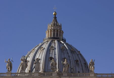 hemispherical: ROME, ITALY - DECEMBER 31 2014: Architectural close up of the Dome of Saint Peter Basilica in Vatican City, Rome