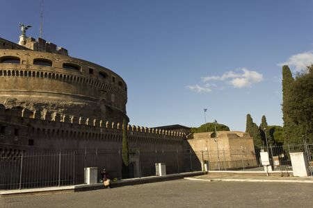 december 31: ROME, ITALY - DECEMBER 31 2014: Overview of Castel SantAngelo in Rome, Italy, in a sunny day
