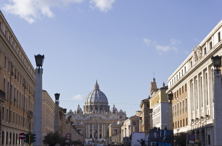 december 31: ROME, ITALY - DECEMBER 31 2014: View from Via della Conciliazione of Saint Peter Basilica in Vatican City, Rome, with nobody