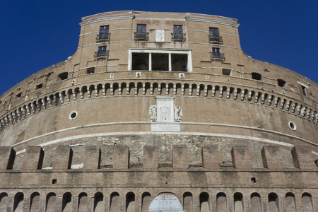 december 31: ROME, ITALY - DECEMBER 31 2014: Architectural close up of Castel SantAngelo frontal Facade in Rome, Italy