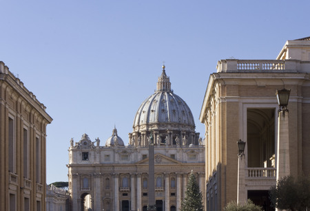 saint peter: ROME, ITALY - DECEMBER 31 2014: View from Via della Conciliazione of Saint Peter Basilica in Vatican City, Rome, with nobody