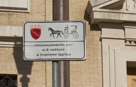 spqr: ROME, ITALY - DECEMBER 31 2014: Horseracing parking sign in Rome, Italy Editorial