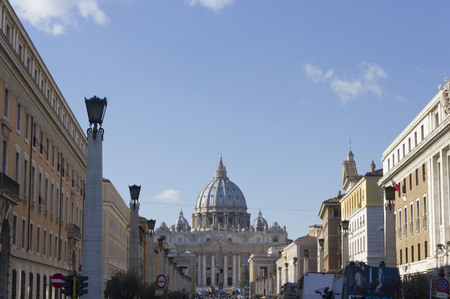 basilica of saint peter: ROME, ITALY - DECEMBER 31 2014: View from Via della Conciliazione of Saint Peter Basilica in Vatican City, Rome, with nobody