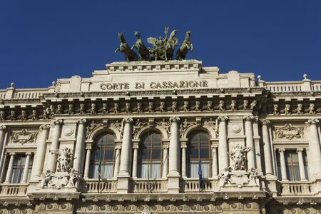 derecho romano: ROME, ITALY - DECEMBER 31 2014: Architectural close up of Palace of Justice in Rome, Italy Editorial