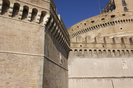 hadrian: ROME, ITALY - DECEMBER 31 2014: Architectural close up of Castel SantAngelo frontal Facade in Rome, Italy