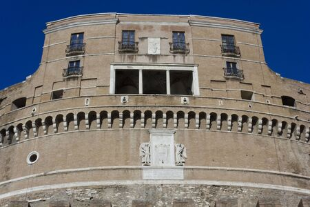 castel: ROME, ITALY - DECEMBER 31 2014: Architectural close up of Castel SantAngelo frontal Facade in Rome, Italy