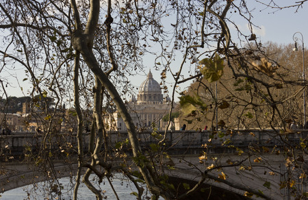 saint peter: ROME, ITALY - DECEMBER 31 2014: View of Saint Peter Basilica s dome  behind the trees, and River Tiber in Rome, Italy
