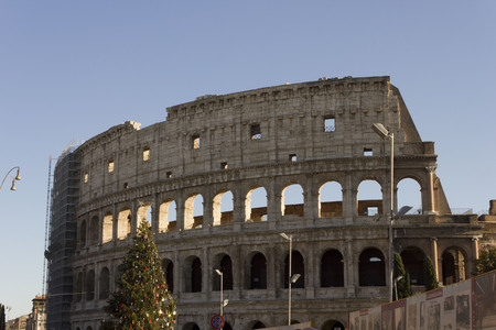 january 1: ROME, ITALY - JANUARY 1 2015: The Colosseum in Rome with a Christmas Tree on its side