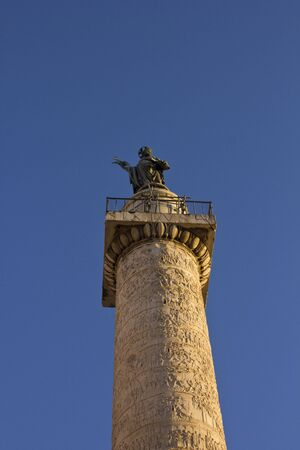 roman pillar: ROME, ITALY - JANUARY 1 2015: Bottom up view of Trajan column in Rome, facing the sky Editorial